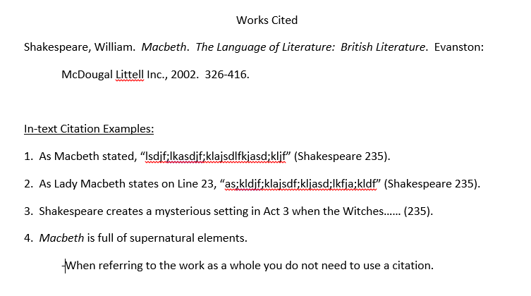 Essay mla format quotes shakespeare